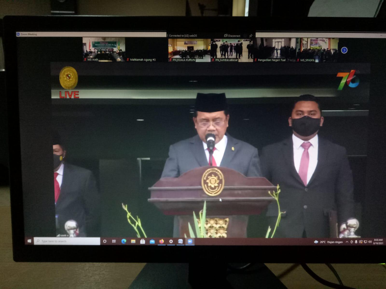 Ketua Mahkamah Syar'iyah Aceh Mengikuti Upacara HUT Mahkamah Agung ke-76 Secara Virtual